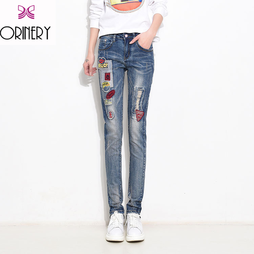 ФОТО ORINERY New Spring Women Jeans Ripped jean Pants Vintage Jeans Patchwork Cross Denim Slim Straight Trousers Jeans