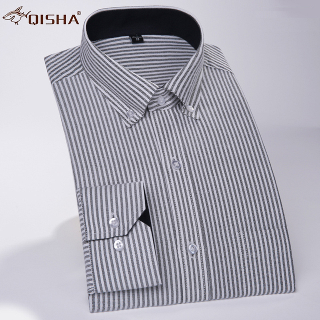 Men S Oxford Shirts High Quality Casual Stripe Shirt Long Sleeve