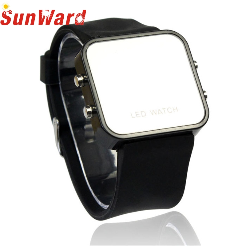 Digital Watches Quality Mini LED Digital Calendar Day/Date Silicone Sport Mirror Faceless Men Lady Watch relogio2017 NEW