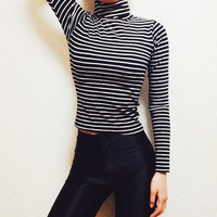 American Apparel Stripe Cotton Spandex Jersey Long Sleeve Turtleneck T Shirt Tight AA Vintage Slim Slim