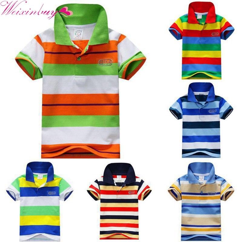 ≧Musim panas Boy Bergaris Lengan Pendek T-shirt Anak Anak Laki-laki ... 275a63eba1