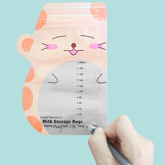 GL 90 Pieces Breast Milk Storage Bag Mark Name and Date 200ml BPA free Safe Baby feeding Storage Bag Cute Cartoon Design GLCN-3