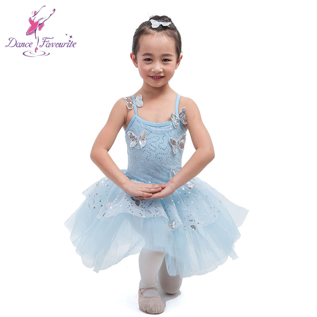 b6dead3ff147 Pale Blue Spandex With Butterfly Ballet Tutu Girl Stage Performance ...