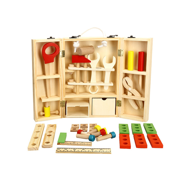 Wooden Carpenter's Tool Set Kids Toys Disassembly And Assembly Toy Children's 3D Puzzle Box Hot Educational Wooden Toys