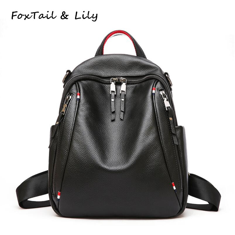 FoxTail & Lily Soft Cow Leather Backpack Women Genuine Leather Tote Shoulder Bag Double Zipper Large Capacity Travel BackpacksFoxTail & Lily Soft Cow Leather Backpack Women Genuine Leather Tote Shoulder Bag Double Zipper Large Capacity Travel Backpacks