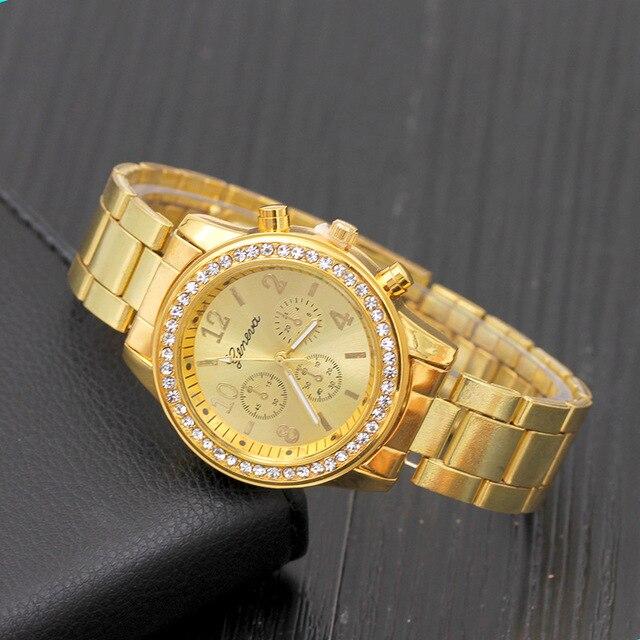 2019 mode robe montres femmes hommes Faux chronographe Quartz plaqué classique rond cristaux montre relogio masculino horloge décontractée 1