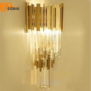 Image 3 - Lámpara de pared de cristal de lujo, luces de pared modernas, brillo de AC110V 240V, iluminación para sala de estar y dormitorio