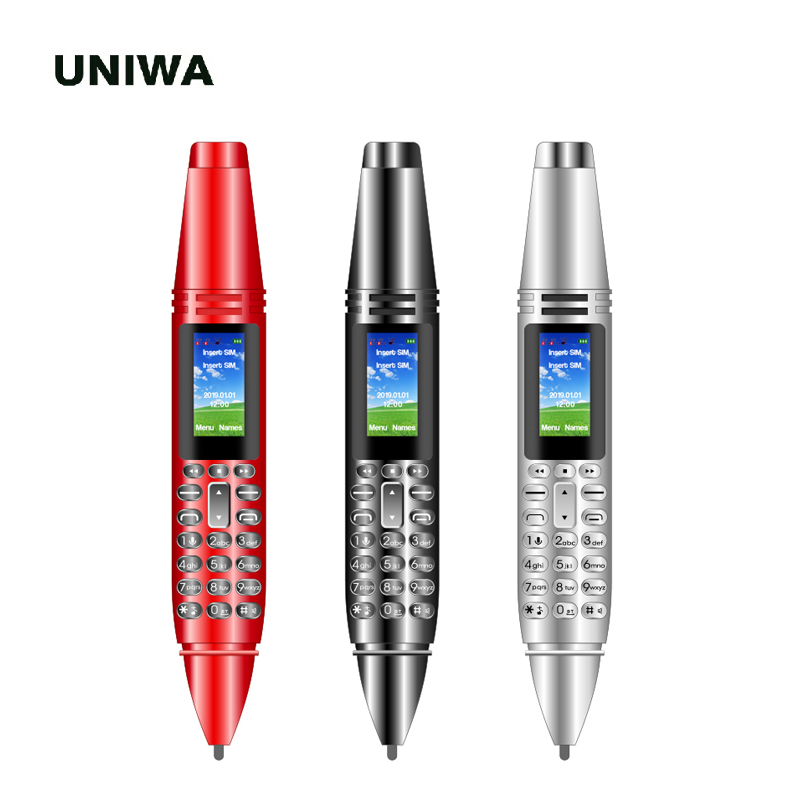 UNIWA Mini Pen Mobile Phone Magic Voice Kid Bluetooth Wireless 2G Unlocked Small Cellphone Wireless FM Radio Pen Style AK007