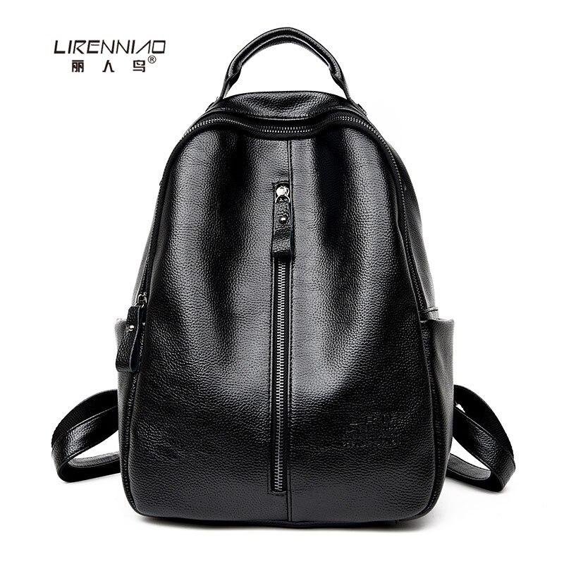 LIRENNIAO PU Leather Women Backpacks Large Capacity Vintage Backpack for Teenage Girls School Bags Black Summer