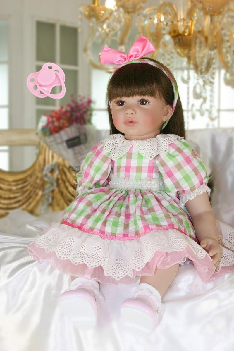 60 см Силиконовые Reborn девушка кукла игрушки 24 ''винил принцесса для малышей кукла девушки Boneca высокого класса подарок на день рождения играть...