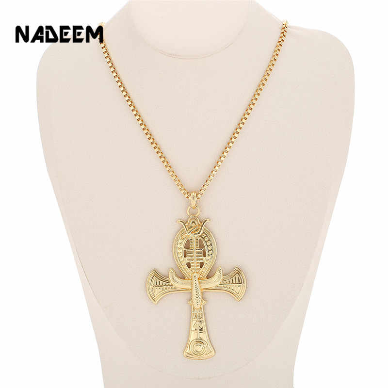 Ancient Ankh Cross Of Horus Egyptian Jewelry Male Eagle & Snake Design Pendant Necklace Gold-Color Hip Hop Chain Necklace Men
