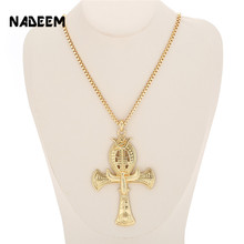 Ancient Ankh Cross Of Horus Egyptian Jewelry Male Eagle & Snake Design Pendant Necklace Gold-Color Hip Hop Chain Necklace Men ancient ankh cross of horus egyptian jewelry male eagle