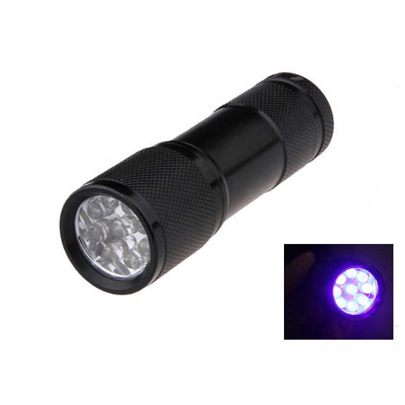 Mini lanterna de alumínio portátil luz uv lanterna tocha violeta luz 9 led uv luz da tocha lâmpada