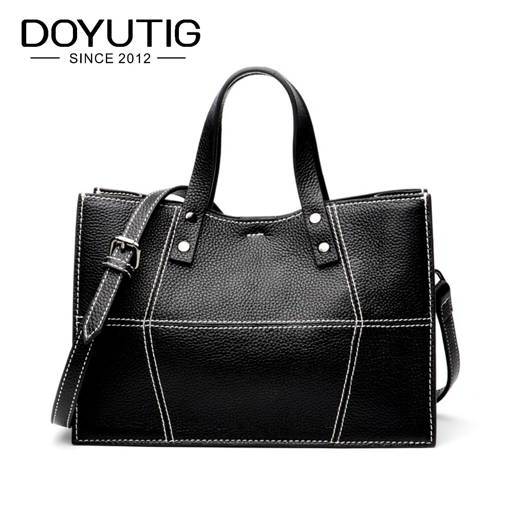 DOYUTIG Classical Women's Genuine Leather Handbag Casual Black Middle Size Satchels Lady Real Cow Leather Crossbosy Bags F561