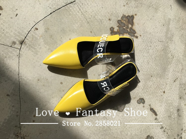 Transparent belt pointed toe clear heels slippers women genuine leather slip on casual shoes black yellow summer slides women-in Slippers from Shoes    2
