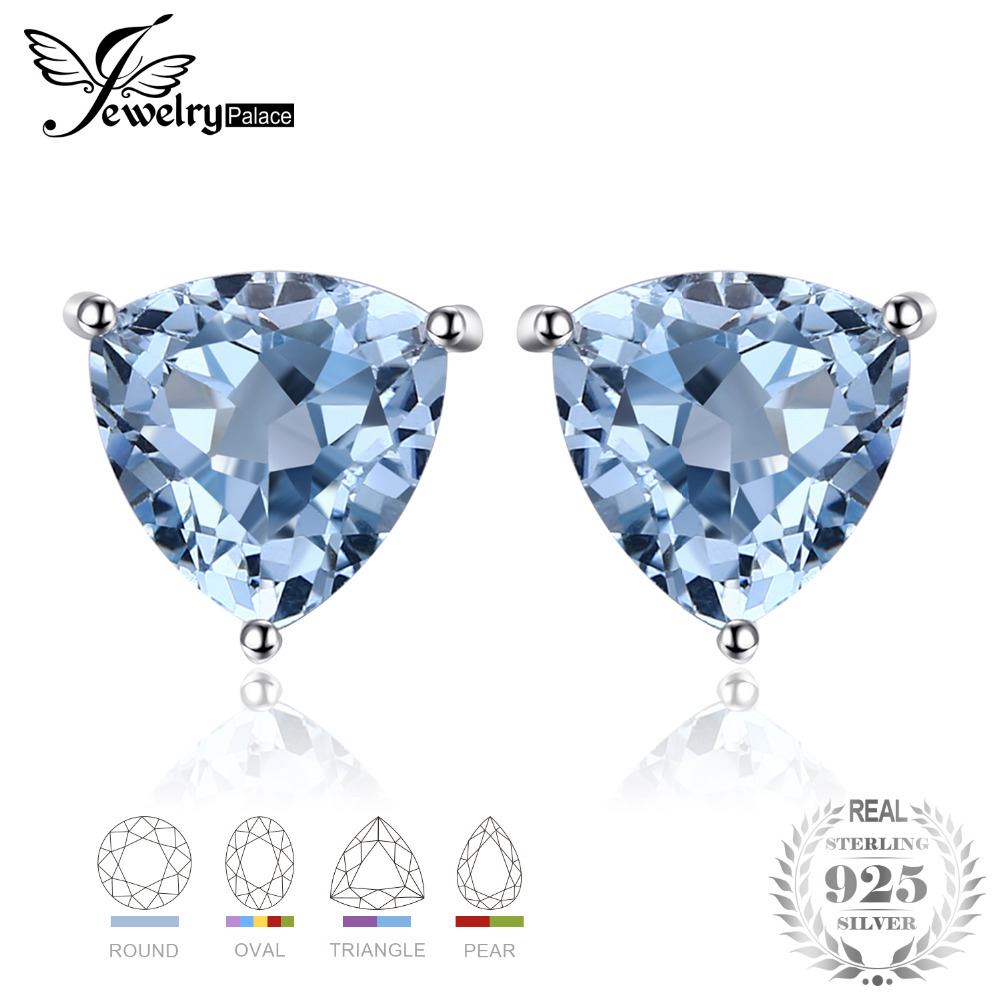 JewelryPalace Sky Blue Topaz 925 Sterling Silver Combination Stud Earrings For Women Beatuiful Jewelry 2018 New Hot Sale
