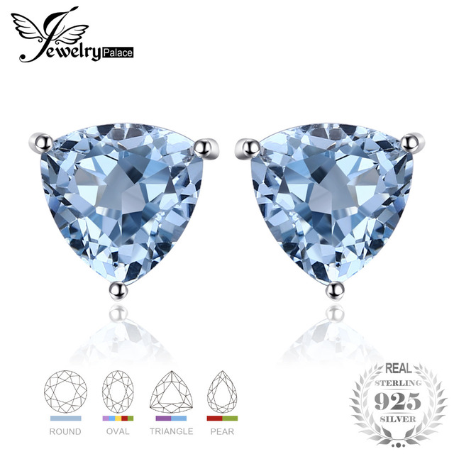 JewelryPalace Sky Blue Topaz 925 Sterling Silver Combination Stud Earrings For W