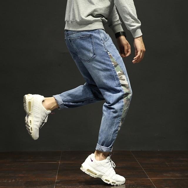 7027b57459bca Autumn men s jeans stretch loose feet harem pants Japanese large size men s  clothing plus fertilizer to increase pants tide