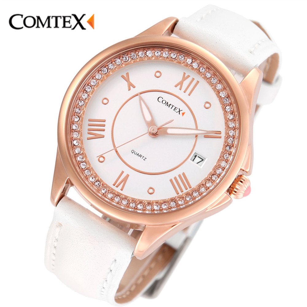 ФОТО Comtex Fashion Leather Band Stainless Still Case Watch Women Shell Dial Face Quartz Watch Waterproof women watches Calendar gift