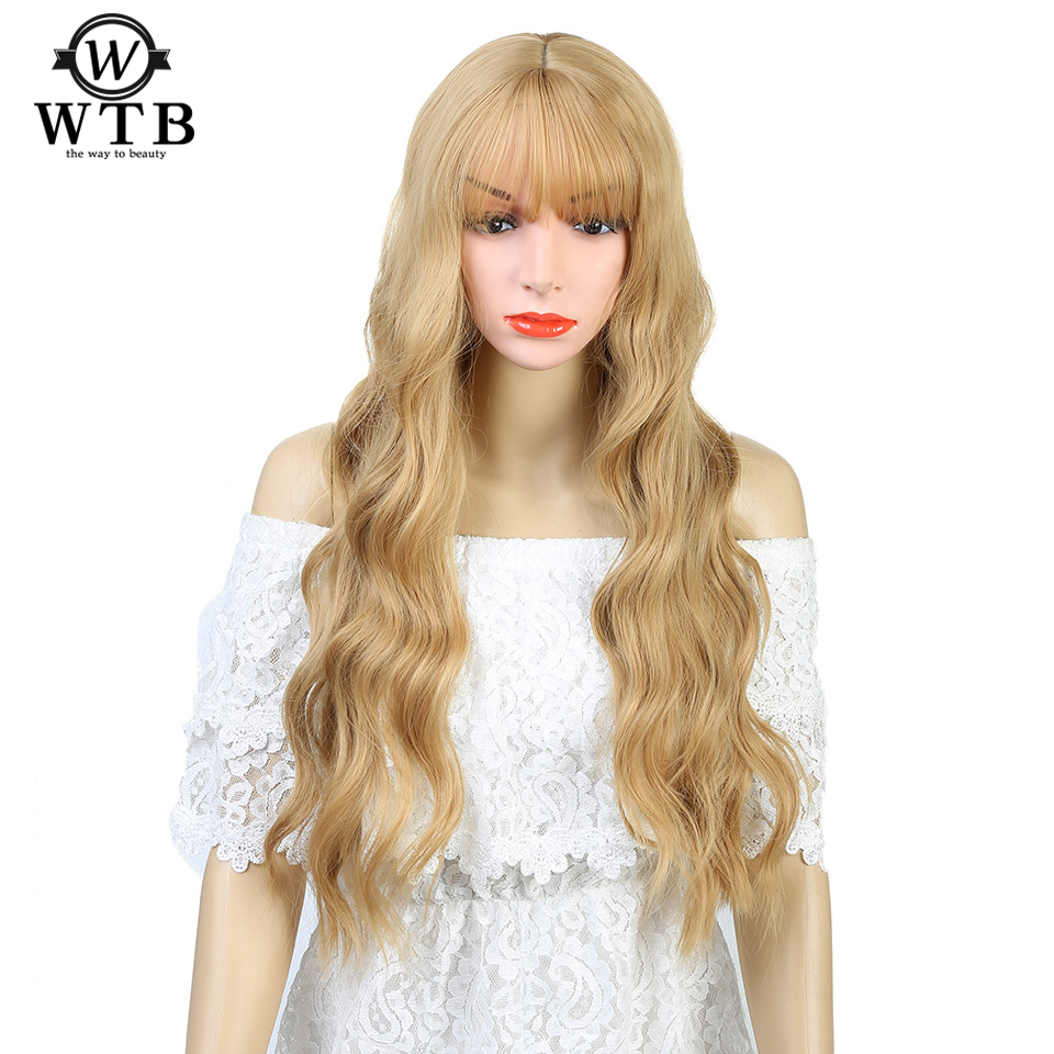 """WTB Womens 26"""" Long wavy Heat Resistant Wig with Bangs Synthetic Kinky Curly Wigs for Women African American"""