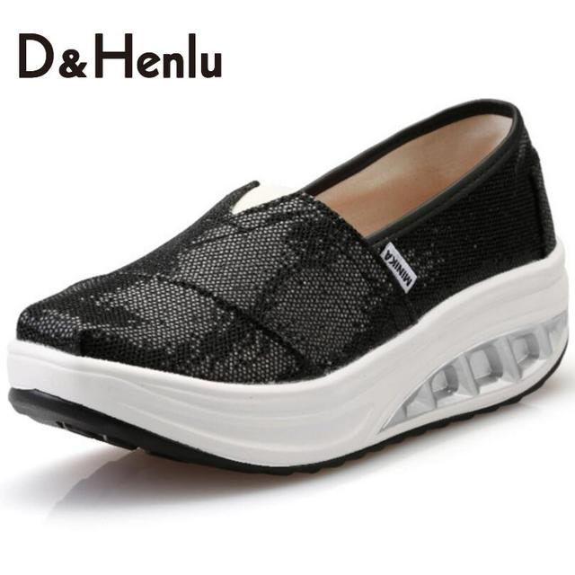 {D&H}Sequined Cloth Height Increasing New Women Shoes Black Spring/Autumn Women's Casual Platform Shoes Women's Vulcanize Shoes