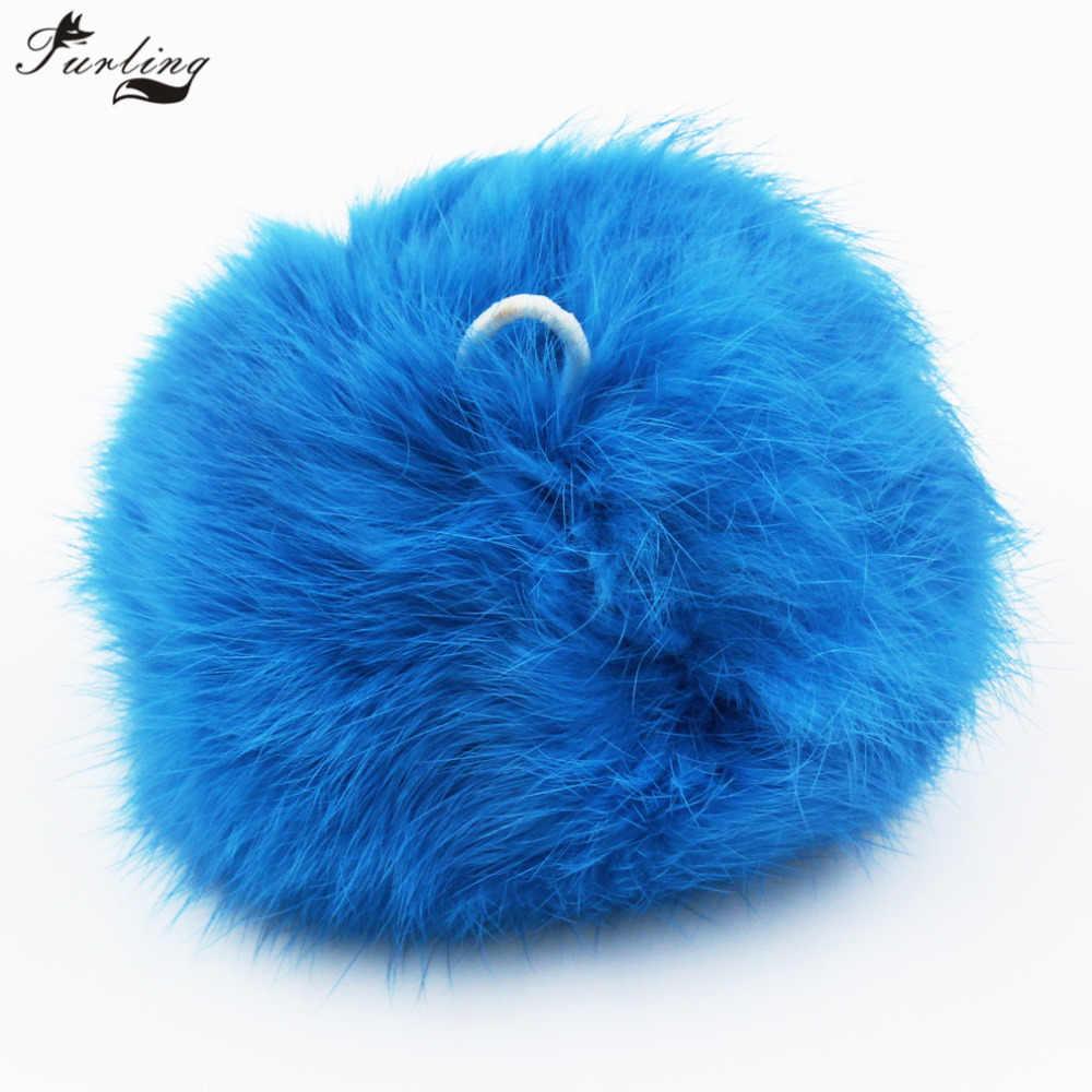 Furling diy 9/10 cm (3.5/4 polegadas) real pele de coelho pompons bola para chaveiro saco charme chapéu de malha acessórios
