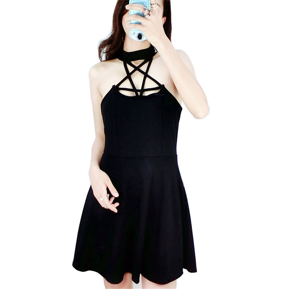 Women <font><b>Sexy</b></font> Halter Black Dress Summer <font><b>2018</b></font> <font><b>Star</b></font> Hollow Out <font><b>Sexy</b></font> Cotton Dresses for <font><b>Ladies</b></font> Vintage Style Punk Dress Clothing image
