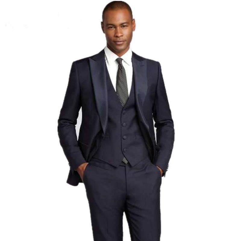 Erkek Kıyafeti'ten T. Elbise'de Özel Yapılmış Yeni Varış Moda Slim Fit Damat Smokin Siyah Düğün Takımları Erkekler Için Ucuz Erkek Takım Elbise (Ceket + pantolon + Yelek)