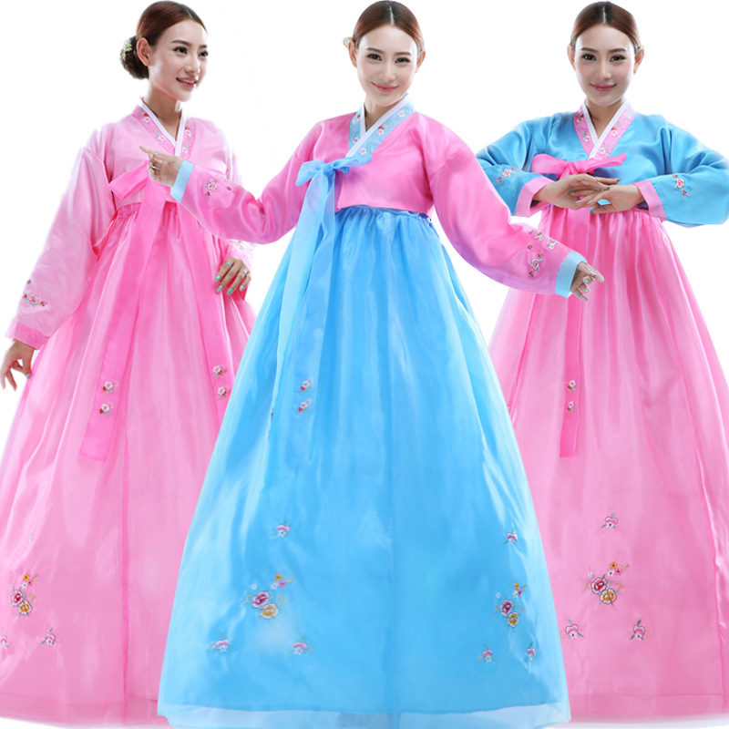 Korea Tradisional Gaun Menyulam Wanita Hanbok Korea Gaun Perempuan Kuno Pakaian Mewah Korea Hanbok Party Cosplay HXF18