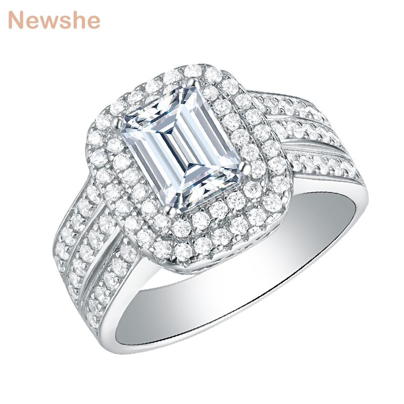 New Emerald Cut Unique Design Solid 925 Sterling Silver Wedding Ring Sapphire Bridal Jewelry For Women garment bag