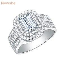 Newshe katı 925 ayar gümüş düğün nişan yüzüğü kadınlar için klasik takı 1.8 Ct prenses kesim AAA kübik Zircons