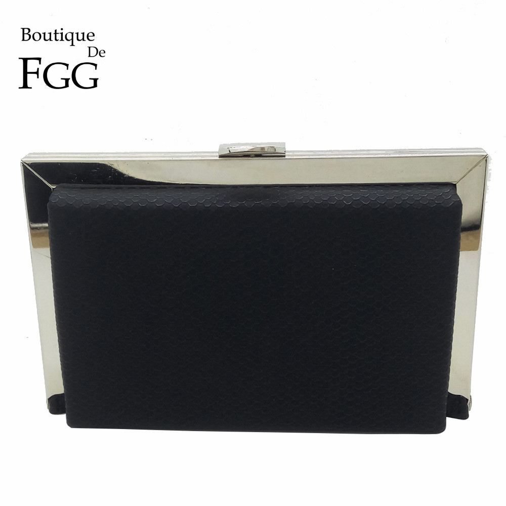 New Spring Collection Black Snake PU Metal Clutches Evening Bag For Women Party Dinner Business Chain