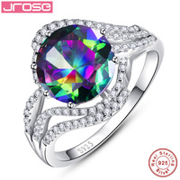CQueen 5CT Round Cut 10x10mm Rainbow Topaz 78pcs Cz Solid Sterling Silver Party Ring Jewellery For