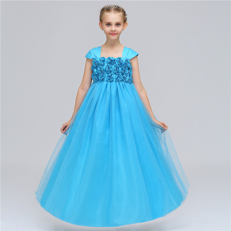 Formal Evening Party Girls Wedding Dress Big Rose Flower Princess Girls Clothing Teenager Wedding Prom Vestido Cloth 12 Years вечернее платье erose evening dress 2015 vestido evening dress ade 232