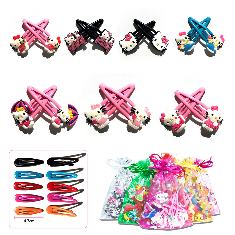 5pairs/lot Hello Kitty Cute PVC Soft Baby Girl Hair Accessories Hair Clips Hairpins Flatback   Headwear   Quality Party Best Gift