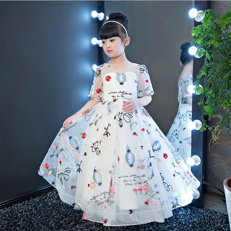 New 2017 Girls Cute Embroidery Princess Dress Baby Kids Back Bow Designer Birthday Party Dresses Girl Wedding Ball Gown Dresses new fashion embroidery flower big girls princess dress summer kids dresses for wedding and party baby girl lace dress cute bow