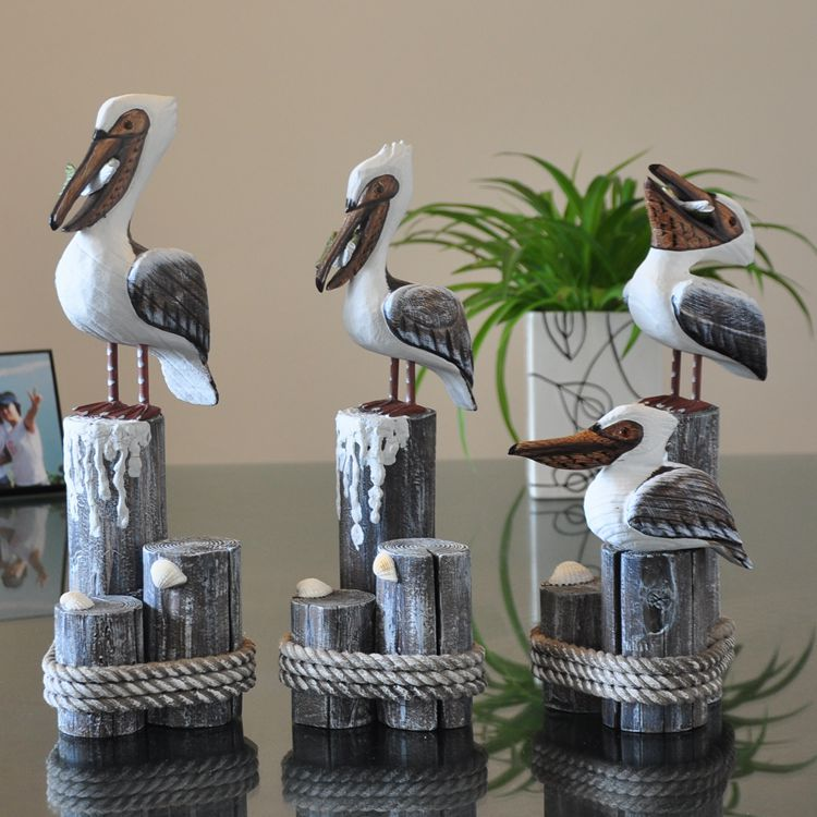The Mediterranean Sea Hand Carved <font><b>Wooden</b></font> Crafts Display a MA10834 on Behalf Of Home Decor Furnishing <font><b>Seabirds</b></font> image