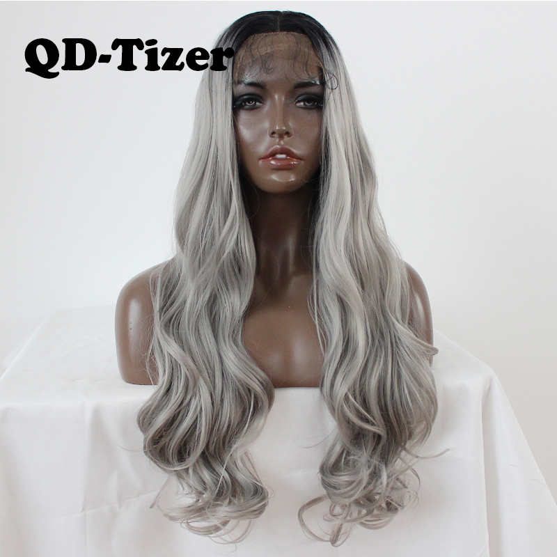 QD Tizer Long Body Wavy Hair Wig Ombre Grey Synthetic Lace Front Wig Glueless Gray Cosplay