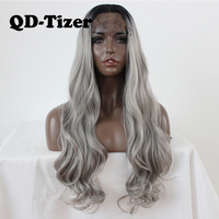 QD Tizer Long Body Wavy Hair Wig Ombre Grey Synthetic Lace Front Wig Glueless Gray Cosplay Lace Front Wigs for Black Women