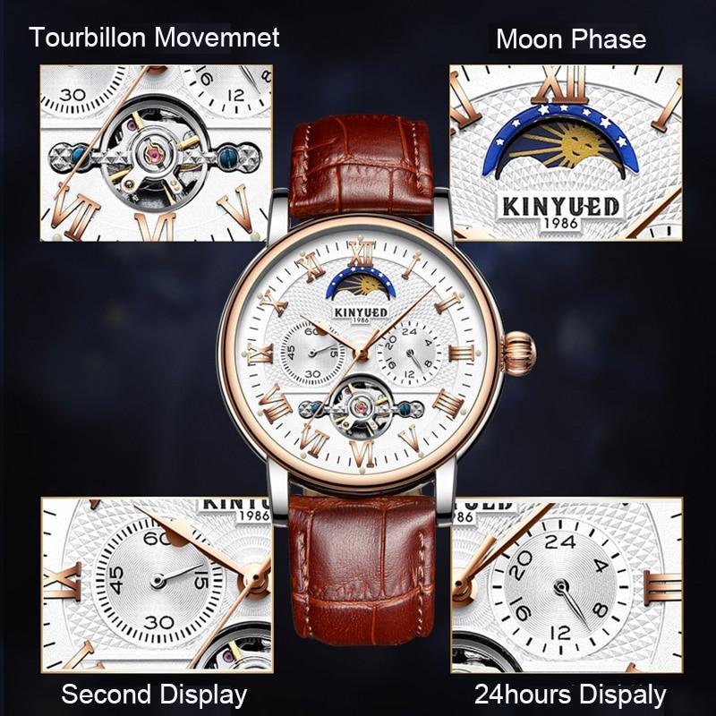 KINYUED Πολυτελές Φεγγάρι Φάση Αυτόματο - Ανδρικά ρολόγια - Φωτογραφία 2