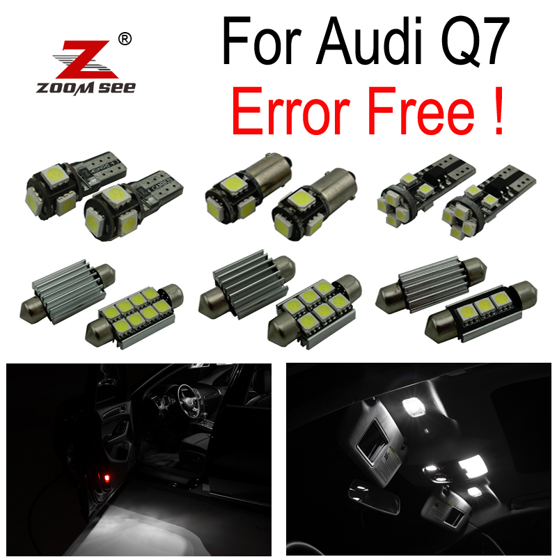 19pc X canbus  LED lamp Interior Lights Kit + Vanity mirror + Front dome + Rear map bulb for Audi Q7 4L Sport (2005-2014) 15pc x 100% canbus led lamp interior map dome reading light kit package for audi a4 s4 b8 saloon sedan only 2009 2015