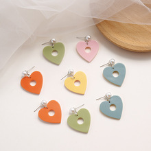 Korean Cute Acrylic Cartoon Heart Pearl Sweet Fresh Woman Girls Stud Earrings Fashion Jewelry Holiday-KQQE