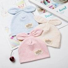 Однотонные хлопковые шапки с ушками и бантом для новорожденных девочек и мальчиков; г. Весенне-летняя одежда для маленьких девочек; аксессуары
