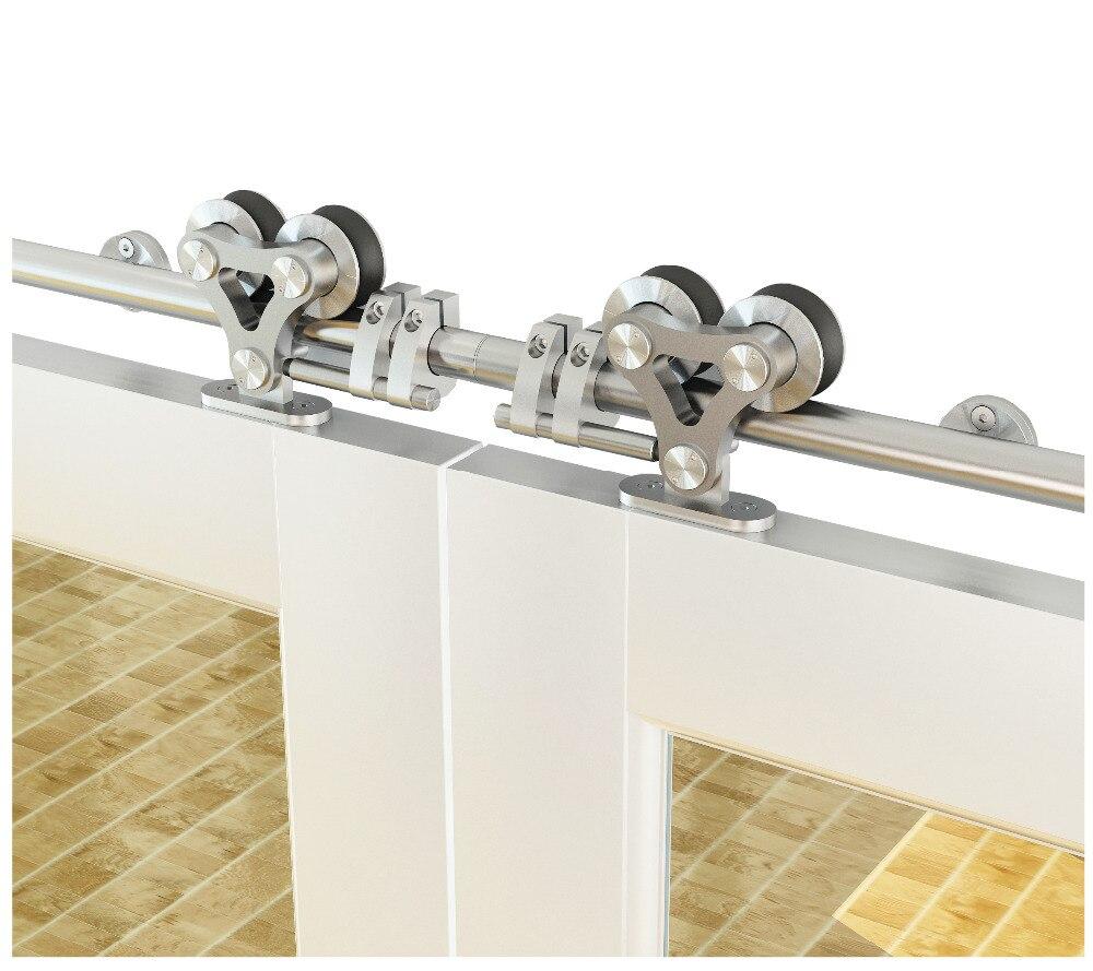 Kit de voie de porte de grange de double rouleau de double tête de matériel de porte coulissante montée par dessus d'acier inoxydable de DIYHD pour la porte simple/double