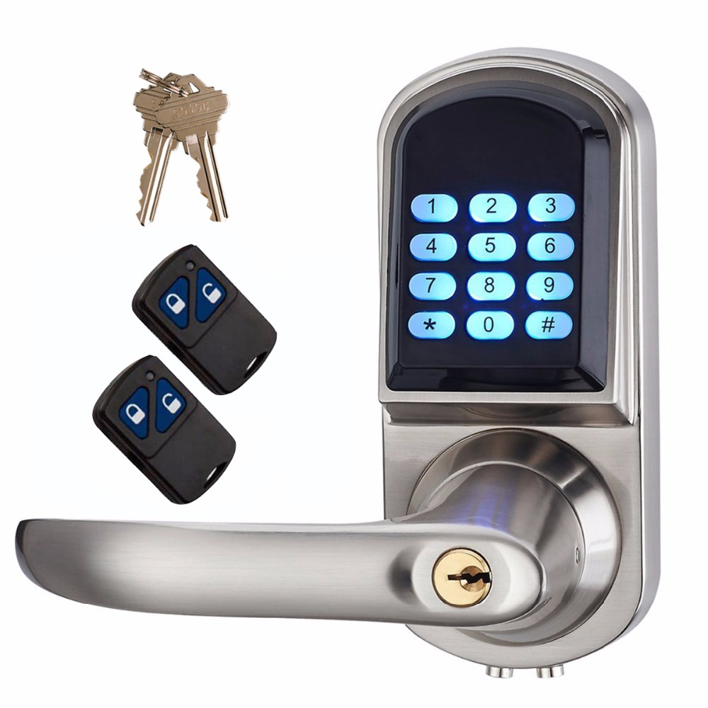 Smart Lock Electronic Keyless Deadbolt Door Lock Unlock with Code + Remote Control and Mechanical Key Right or Left Hand F1405D remote control electronic door lock set automatically intellisense household warded lock with 4 remotes