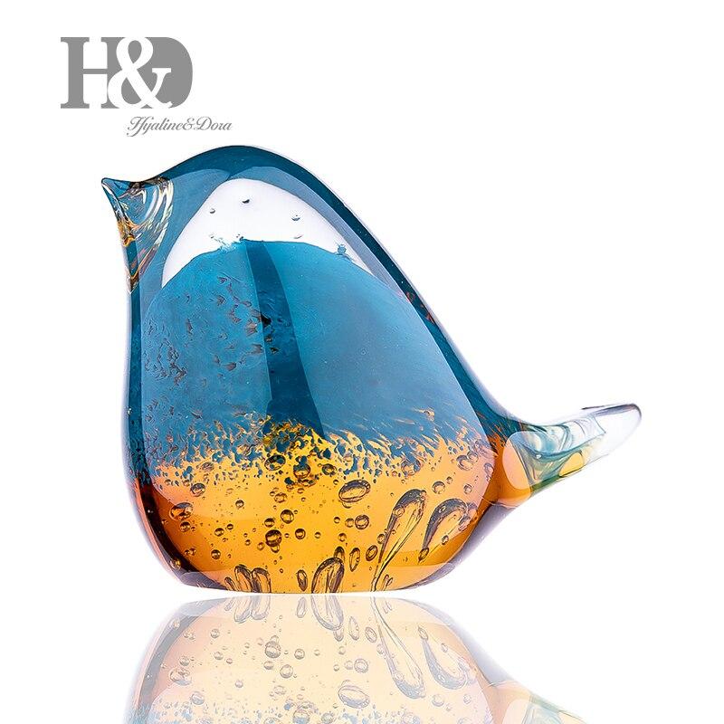 Glass Bird Ornament Figurines Hand Made Mini Statue Home Decor Multicolor