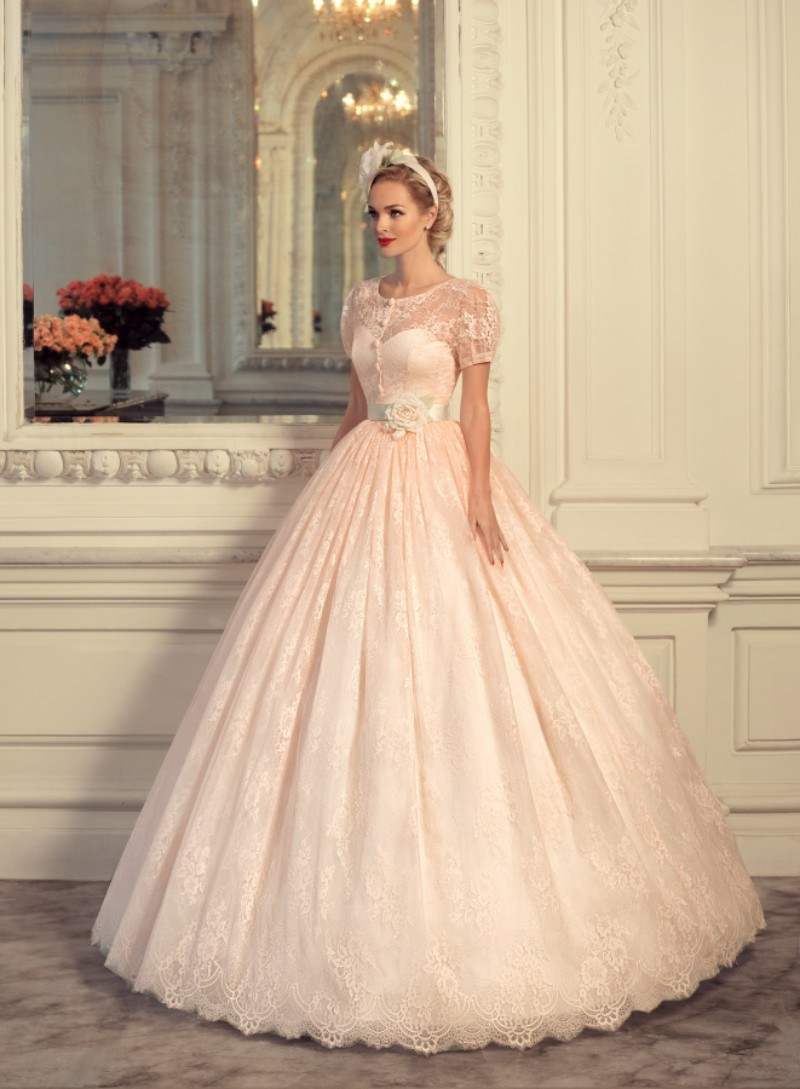 Unique Design Short Sleeve Lace Vintage Ball Gown Wedding Dress Pink ...