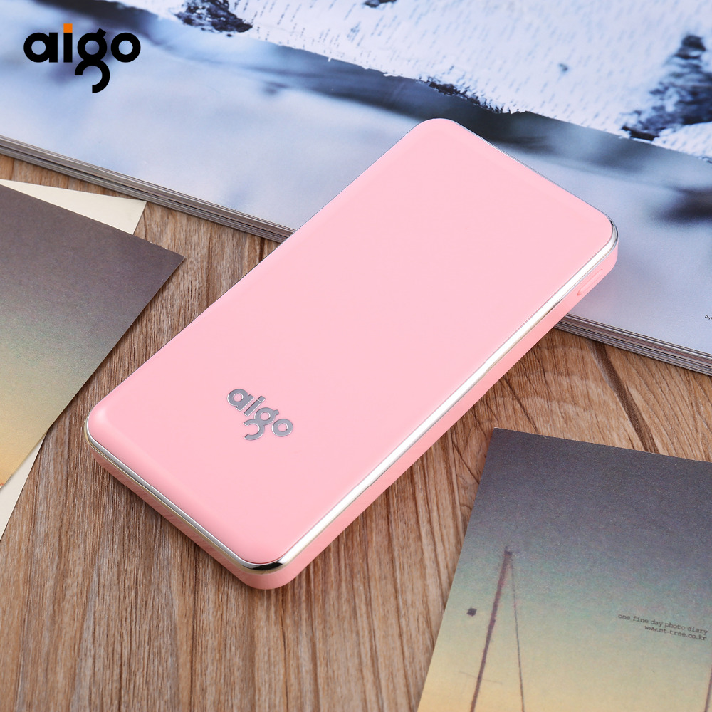 Aigo Power Bank 10000mAh Portable Charger Dual Input Ports for Xiaomi Mi Powerbank Fast Charging For MI iphone 8 X SE Samsung S8