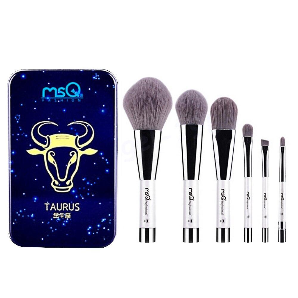 6 Pcs Makeup Kosmetik Serat Arang Bambu Brush Blush Powder Foundation Eye Shadow Alis Bibir Alis Mata Kit dengan Besi Case Taurus-Internasional
