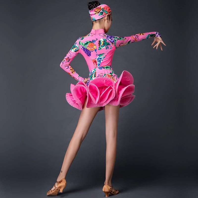 Mode Enfants Robe De Danse Latine Filles Pratique Vêtements Imprimé Lait Soie Salle De Bal Salsa De Robes De Danse Pour Enfants